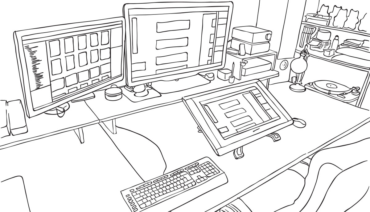 room illustration rough vector linedrawing 03